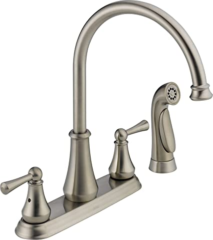 Delta 21902LF-SS Lewiston Two Handle Kitchen Faucet with Spray ...