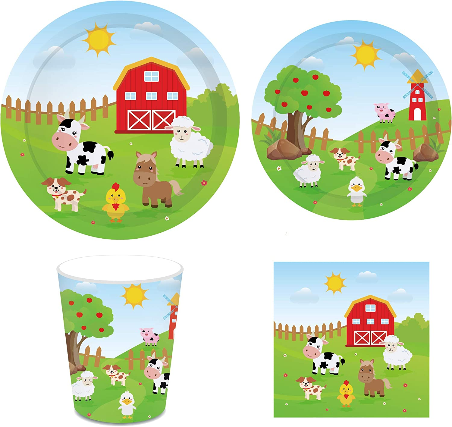 "CC HOME Farm Animal Birthday Party Supplies-Serves 16-Include 7"" Plates ,9""Plates ,Cups,Napkins for Baby Shower,Birthday Party, Wedding Party Decorations"