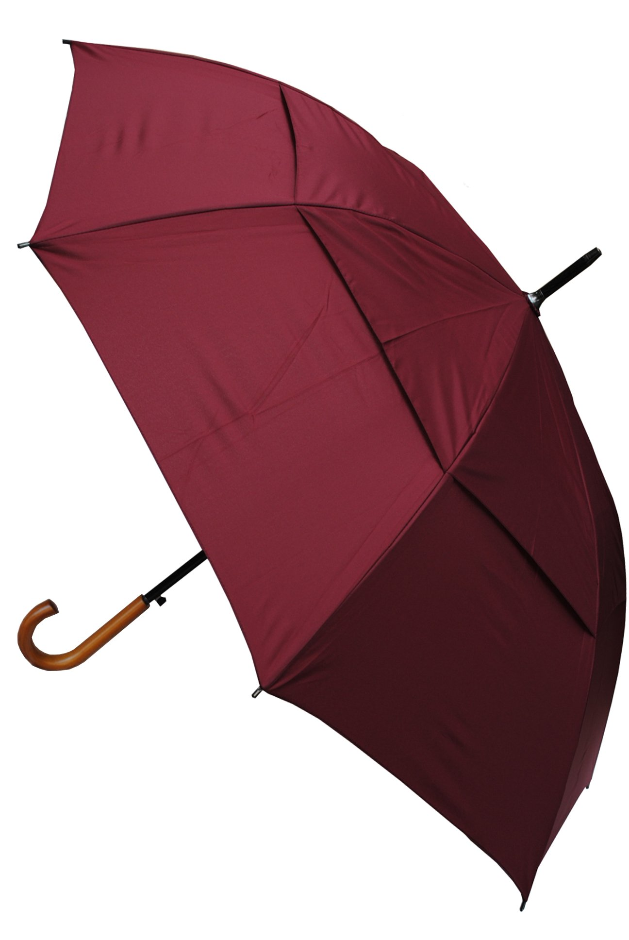 COLLAR AND CUFFS LONDON - Windproof EXTRA STRONG - City Umbrella - Vented Canopy - Auto - Solid Wood Hook Handle Burgundy Red