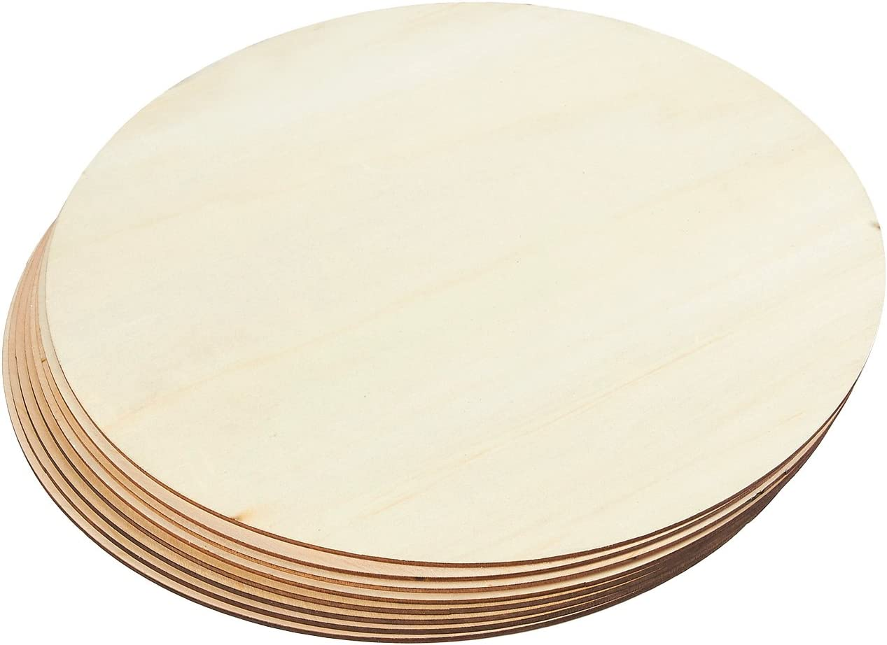 Juvale Wooden Cutouts for Crafts, 8 Pack of 12 Inch Wood Circles