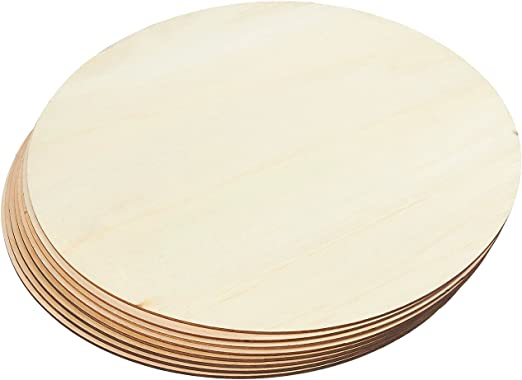 8-Count Unfinished Wooden Round Disc Cutouts 12 Inches in Diameter Wood Circles for Crafts