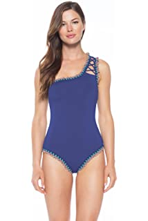 08179e75a0d Becca by Rebecca Virtue Women's Lace-Up Asymmetrical One Piece Swimsuit  Swimsuit