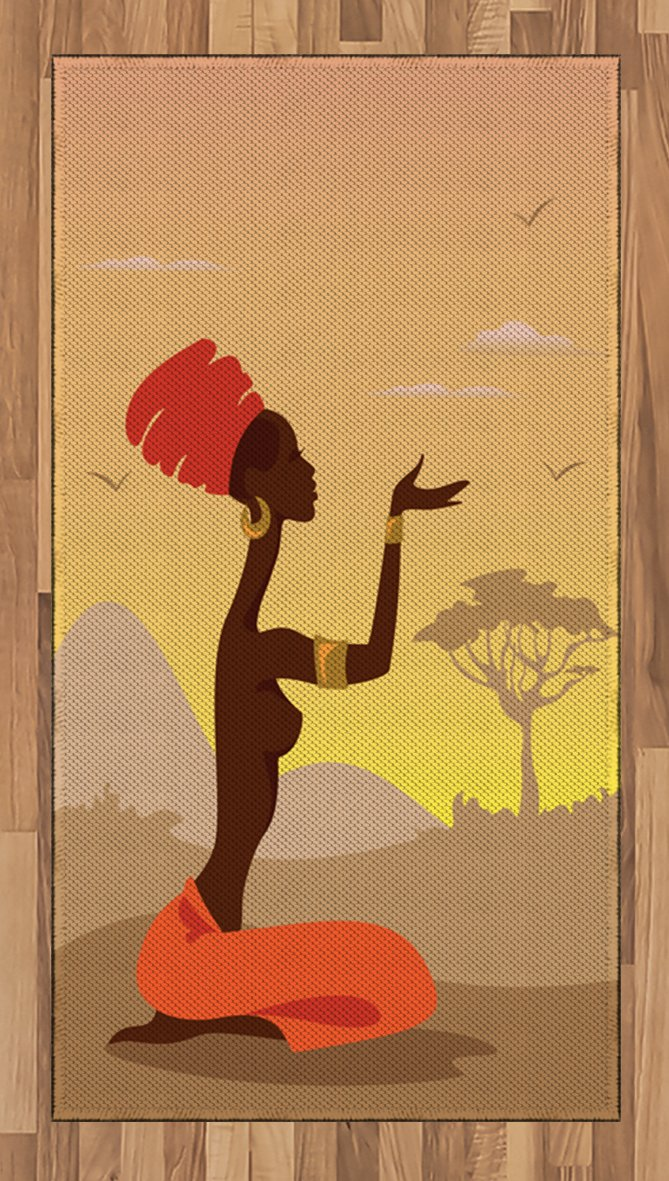 Ambesonne African Area Rug, Spiritual Safari Lady Praying on Desert with Flying Gulls Folk Elegance Design, Flat Woven Accent Rug for Living Room Bedroom Dining Room, 2.6 x 5 FT, Cocoa Orange