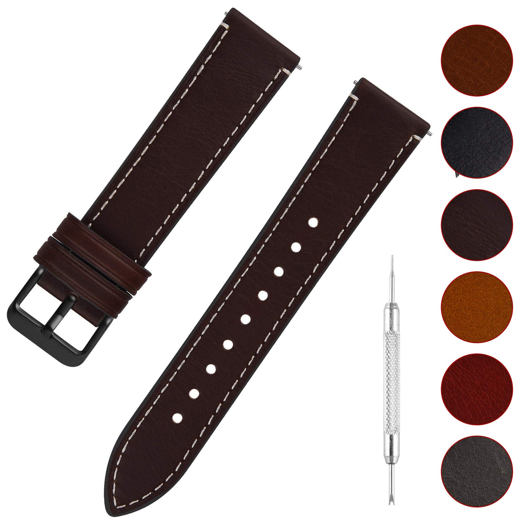Quick Release Leather Watch Band Fullmosa 6 Colors Wax Oil 14mm 16mm 18mm 20mm 22mm 24mm Leather Watch Strap