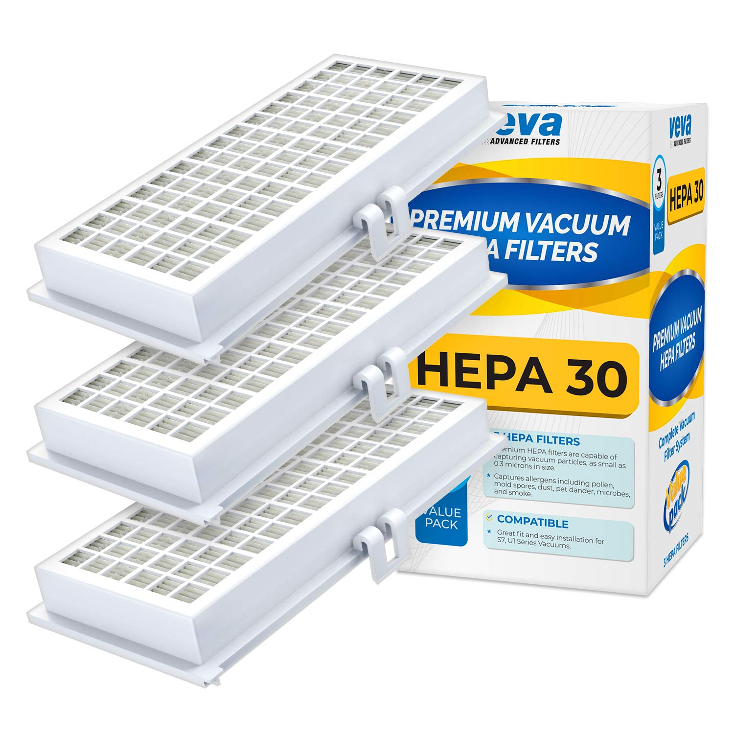 VEVA 3 Pack Premium Vacuum HEPA Filter Set Model SF-HA 30 Works with Miele S7 and U1 Series Vacuum Cleaners