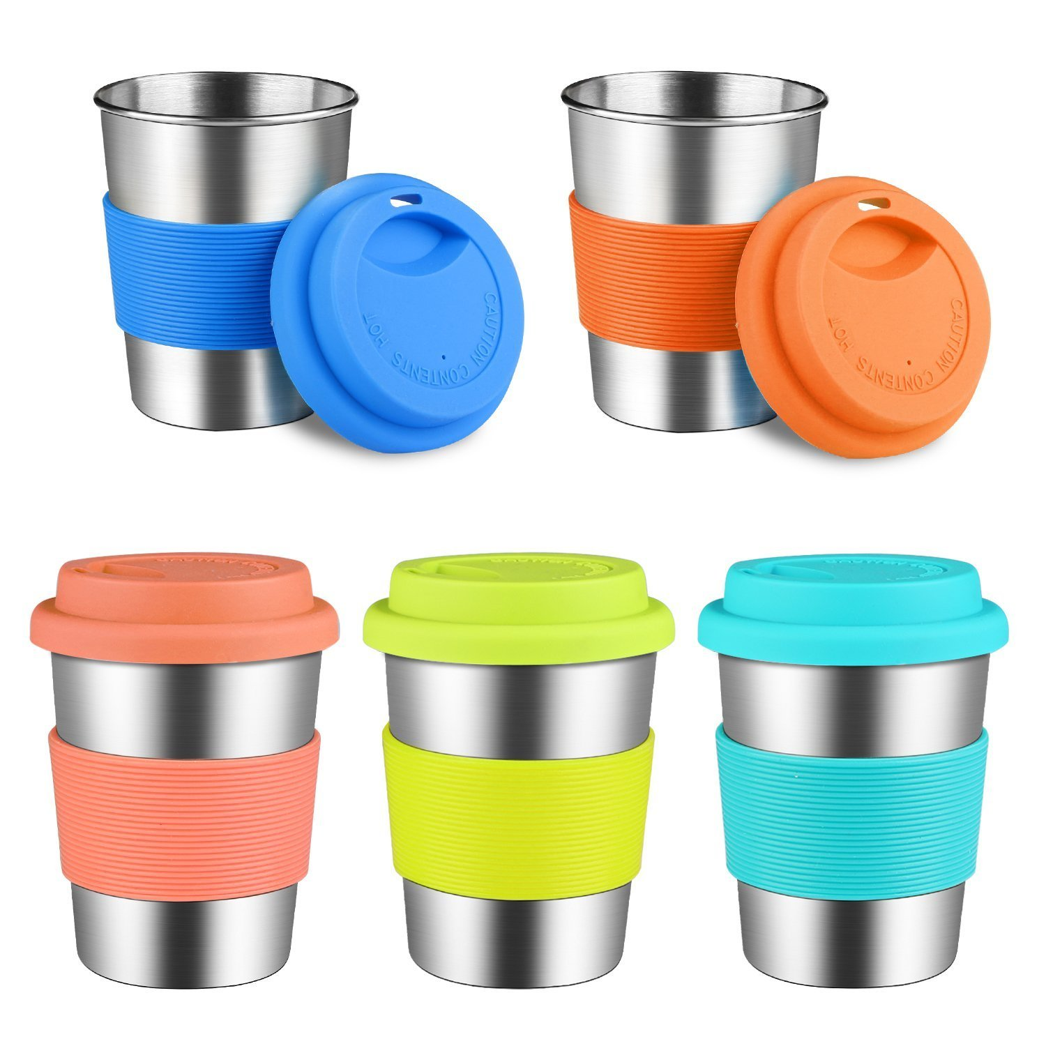 Kids Stainless Steel Cups with Lid & Silicone Sleeves, Kereda 230ml/8oz Food-grade Stackable Metal Drinking Tumbler Lead/BPA Free Mug for Children Camping, Travel, Hiking, Outdoor & Everyday Use, Set of 5