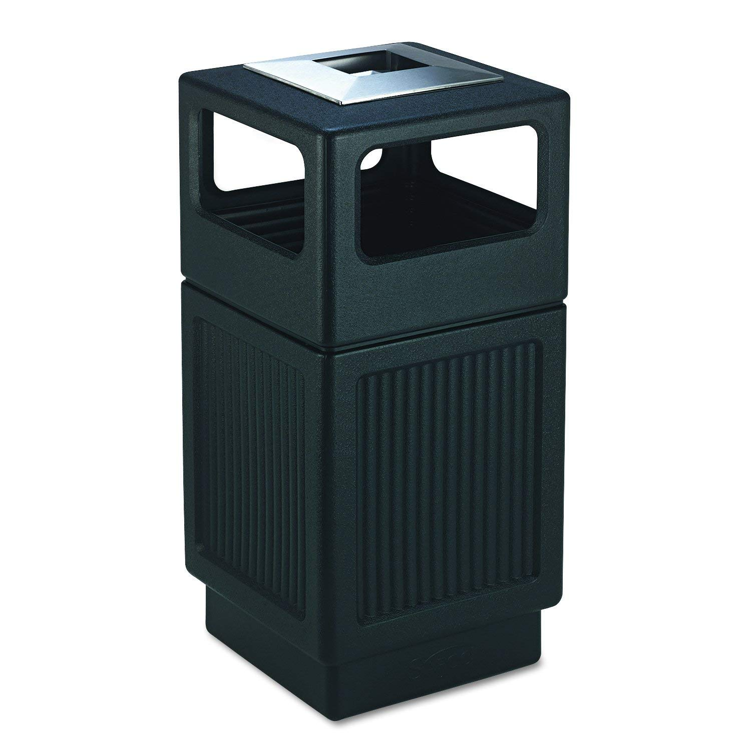 Safco Products Canmeleon Outdoor/Indoor Recessed Panel Trash Can with Ash Urn 9477BL, Black, Decorative Fluted Panels, Stainless Steel Ashtray, 38 Gallon Capacity (Renewed) by Safco Products