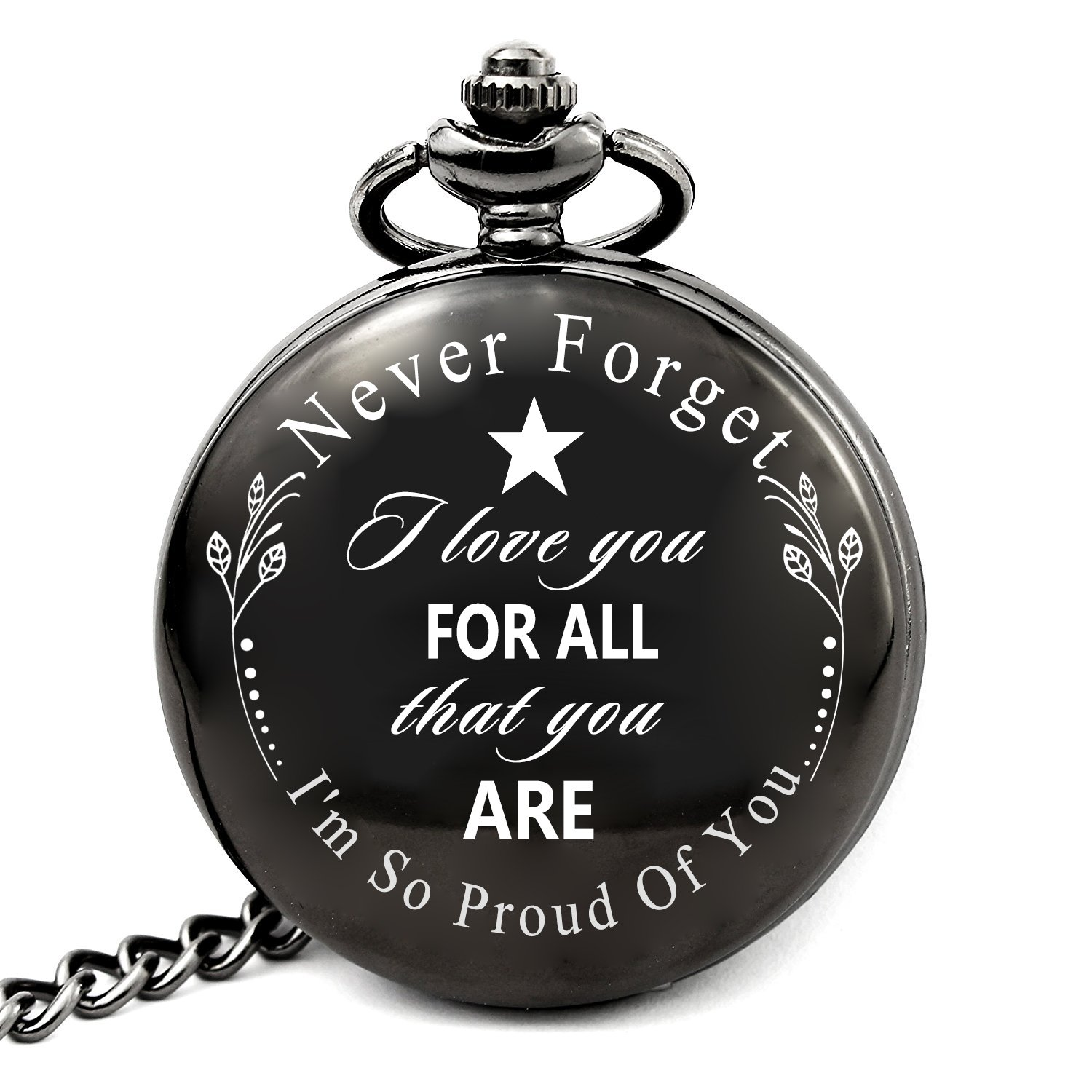 LEVONTA Gifts for Son Husband Dad Grandpa Men of All Ages Engraved Pocket Watch I Love You for All That You are I am So Proud of You