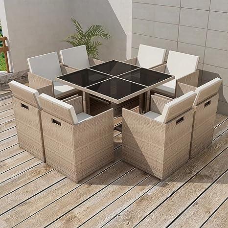 Tidyard Conjunto Muebles de Jardín de Ratán 25 Piezas Sofa ...