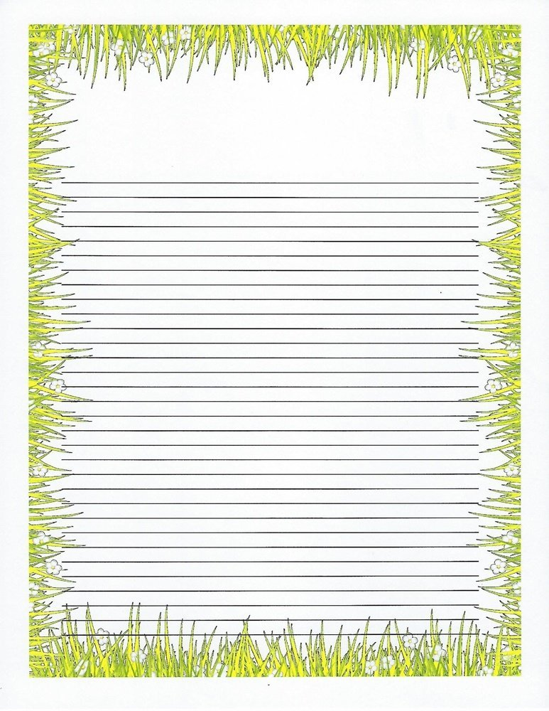 Kids Camp Grass Lined Stationery Paper 26 Sheets  Lined Stationery Paper