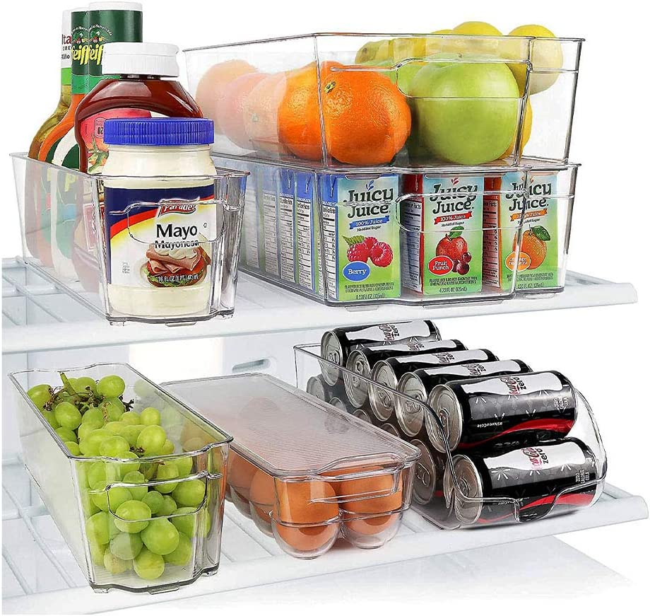 Stackable Storage Organizer Containers with Handles for Refrigerator Clear Freezer Fridge Bins Pantry and Kitchen Cabinets Standard