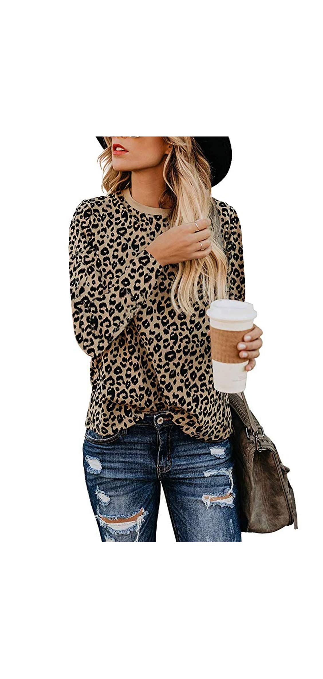Leopard Print Tops For Women Cute Short Sleeve Round Neck Casual