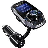 Transmetteur FM Bluetooth VicTsing Kit Voiture Main-libre Sans Fil Adaptateur Radio Chargeur avec Double Port USB et Port Audio 3,5mm, Écran d'Affichage 1,44 Pouces pour iPhone 7 7 Plus SE, Galaxy S7 S6, HUAWEI P10 P9 P8, Sony Xperia, HTC, etc (Gris)