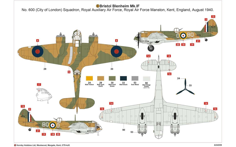 Airfix A04059 Bristol Blenheim MK IF Military Plastic Model Kit 1:72 Scale Hornby