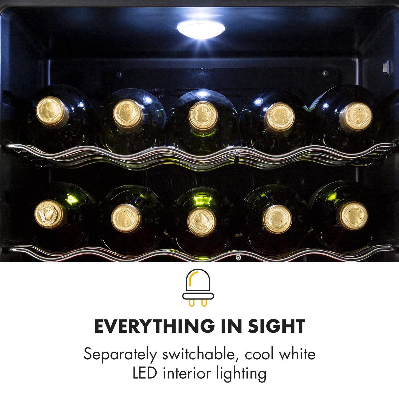Klarstein beersafe - XL Onyx • nevera para Bebidas • Mini nevera • Mini Bar • 60 L • de 0 A 13 °c • iluminación interior A LED 42 DB • 4 parrillas metálicas ...