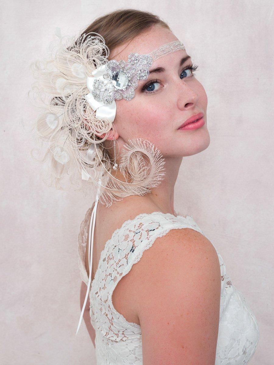 Ivory Peacock Feather Flapper Headband Great Gatsby Style Wedding, Bridal