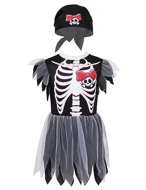 YiZYiF Disfraces Esqueleto Cádaver Niñas Vestido de Fantasma ...