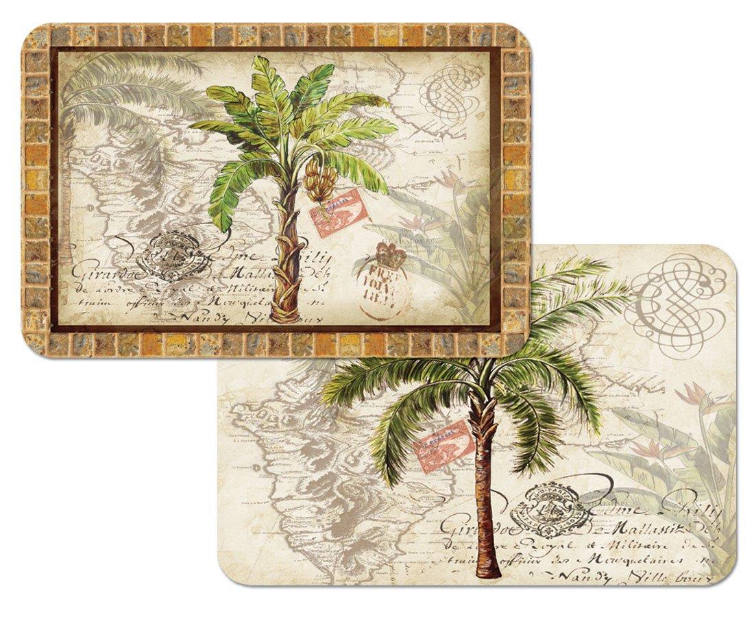Amazon: West Indian Palm Trees Reversible Washable Vinyl Placemats Set  Of Four: Home & Kitchen