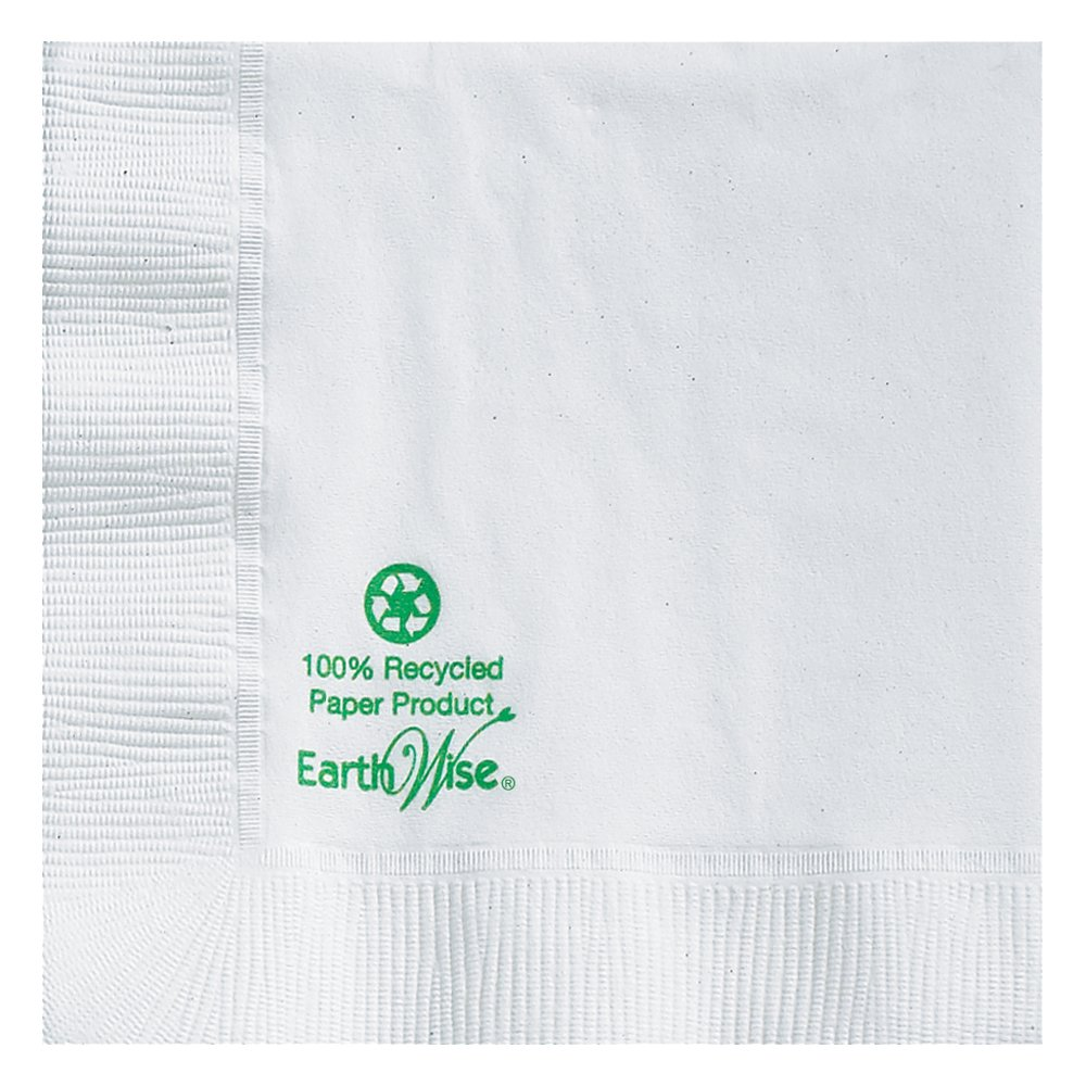 Hoffmaster 057300 Earth Wise Recycled Paper Beverage Napkin, Coin Embossed, 2-Ply, 1/4 Fold, 10