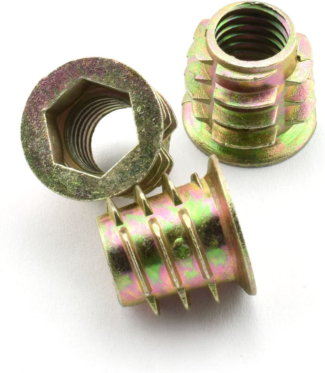 "LQ Industrial 30pcs 15.3x15mm Furniture Screw-in Nut Zinc Alloy Bolt Fastener Connector Hex Socket Drive Threaded Insert Nuts for Wood Furniture Assortment 3/8""-16"
