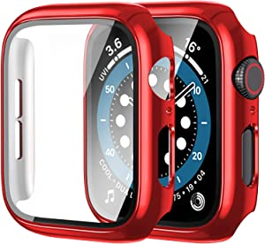 [2 Pack] Anwaut Case with Screen Protector for Apple Watch Series 6/SE/5/4 44mm,Full Defense Coverage with Tempered Glass Cover Accessories for iWatch 44mm Women Men Red
