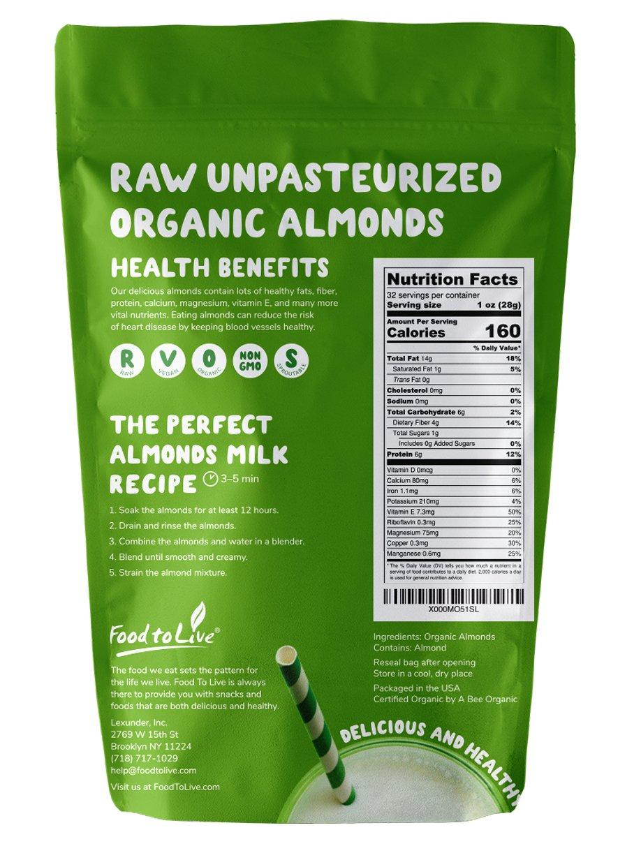 Food to Live Almendra Bio (Eco, Ecológico, cruda, sin cáscara, Kosher, no pasteurizada) 906 gramos: Amazon.es: Alimentación y bebidas