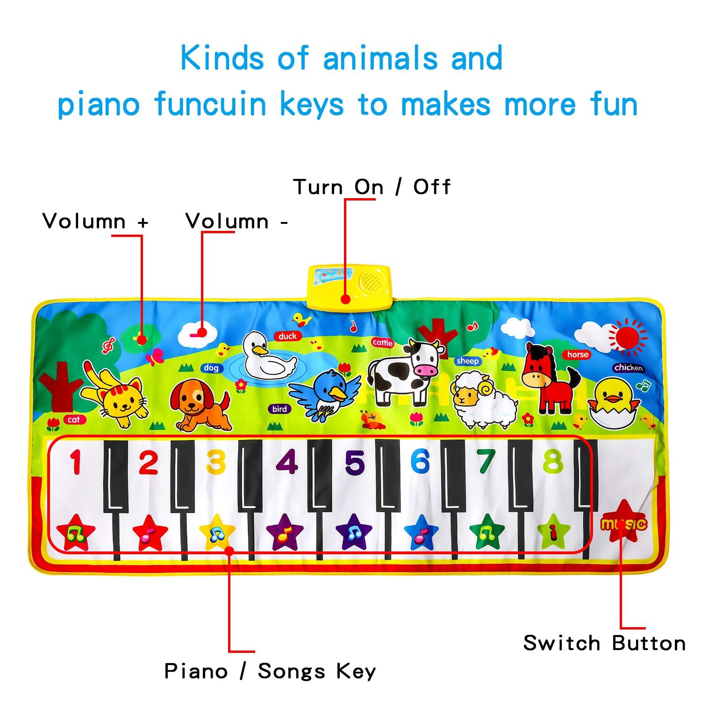 M SANMERSEN Piano Music Mat, Music Dance Mat, Keyboard Play Mat, Animal Blanket Carpet Playmat, Musical Touch Play Game Gifts for Kids Toddlers Girls Boys, 53'' x 23'' by M SANMERSEN (Image #3)
