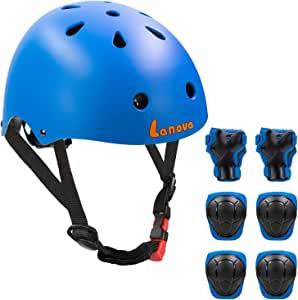 LANOVAGEAR - Casco para niños pequeños, rodilleras, coderas y muñequeras ajustables CPSC, casco de bicicleta para ciclismo, monopatín, scooter, etc.