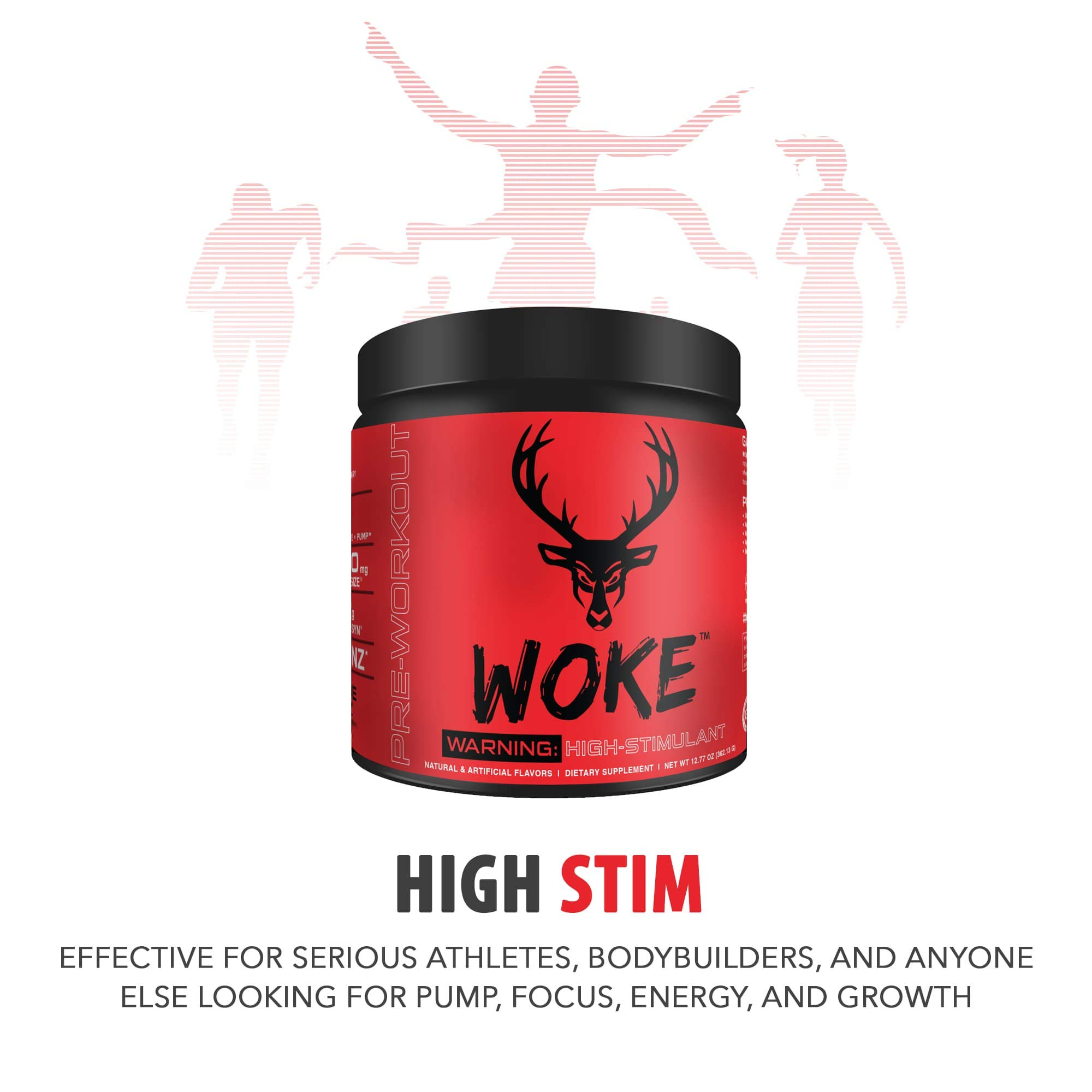 Bucked Up - Woke - HIGH STIM Pre Workout - Best Tasting - Focus Nootropic, Pump, Strength and Growth, 30 Servings (Blood Raz) by BUCKED UP (Image #4)
