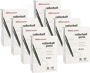 Office Depot (288 Pack) Rollerball Pens.07mm Fine Point Pens, Ink Blue Pens Bulk for Office Supplies, School Supplies, Teacher Supplies