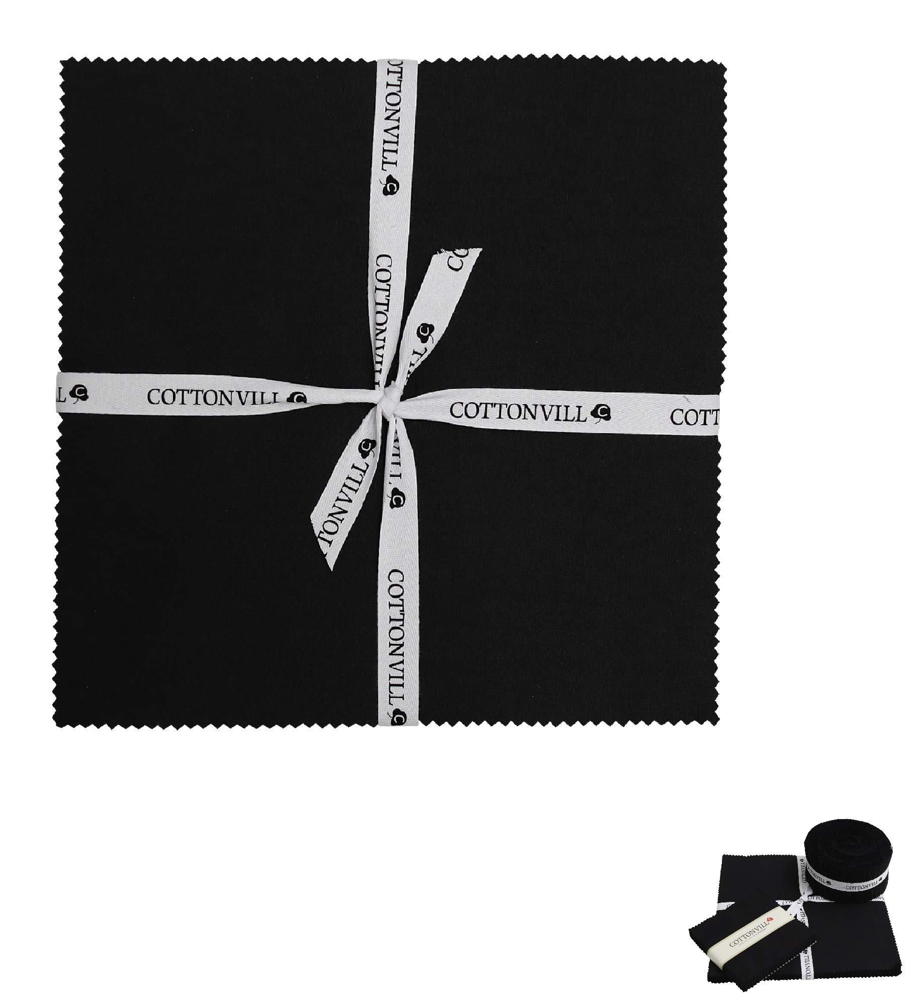 COTTONVILL Cotton Solid Precut Quilting Fabric Bundle 42 pcs, Black (10'' Squares) by COTTONVILL