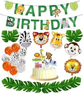 56pcs Jungle Safari Party SuppliesJungle Animal Decorations Zoo Animals Happy Birthday Banner