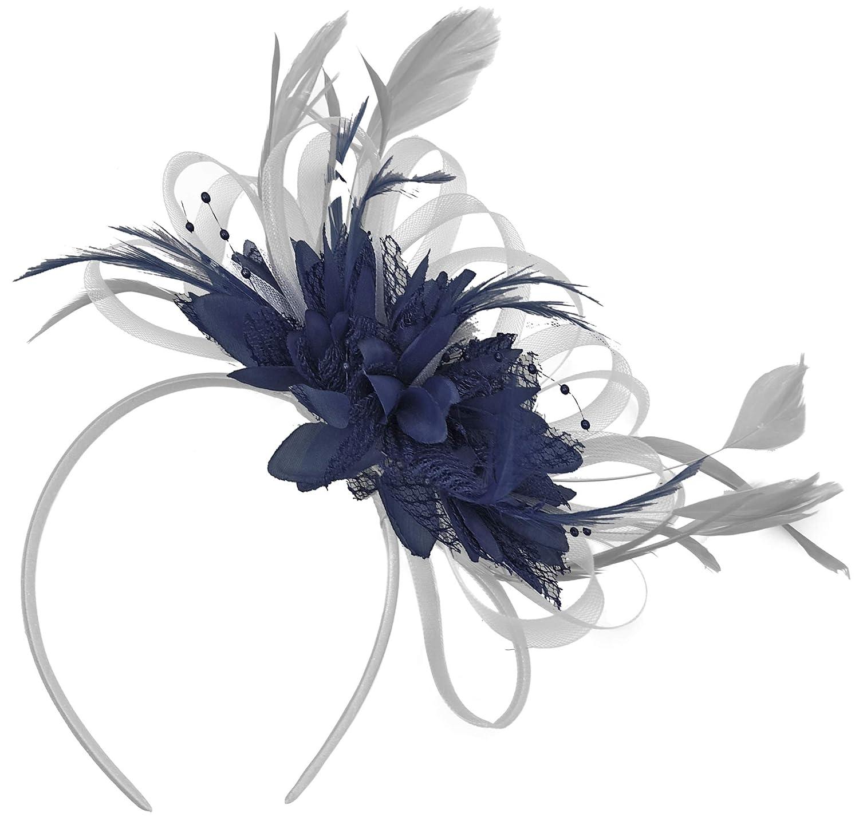 2843f973defeb Grey Silver   Navy Blue Fascinator on Headband AliceBand UK Wedding Ascot  Races Loop  Amazon.co.uk  Clothing
