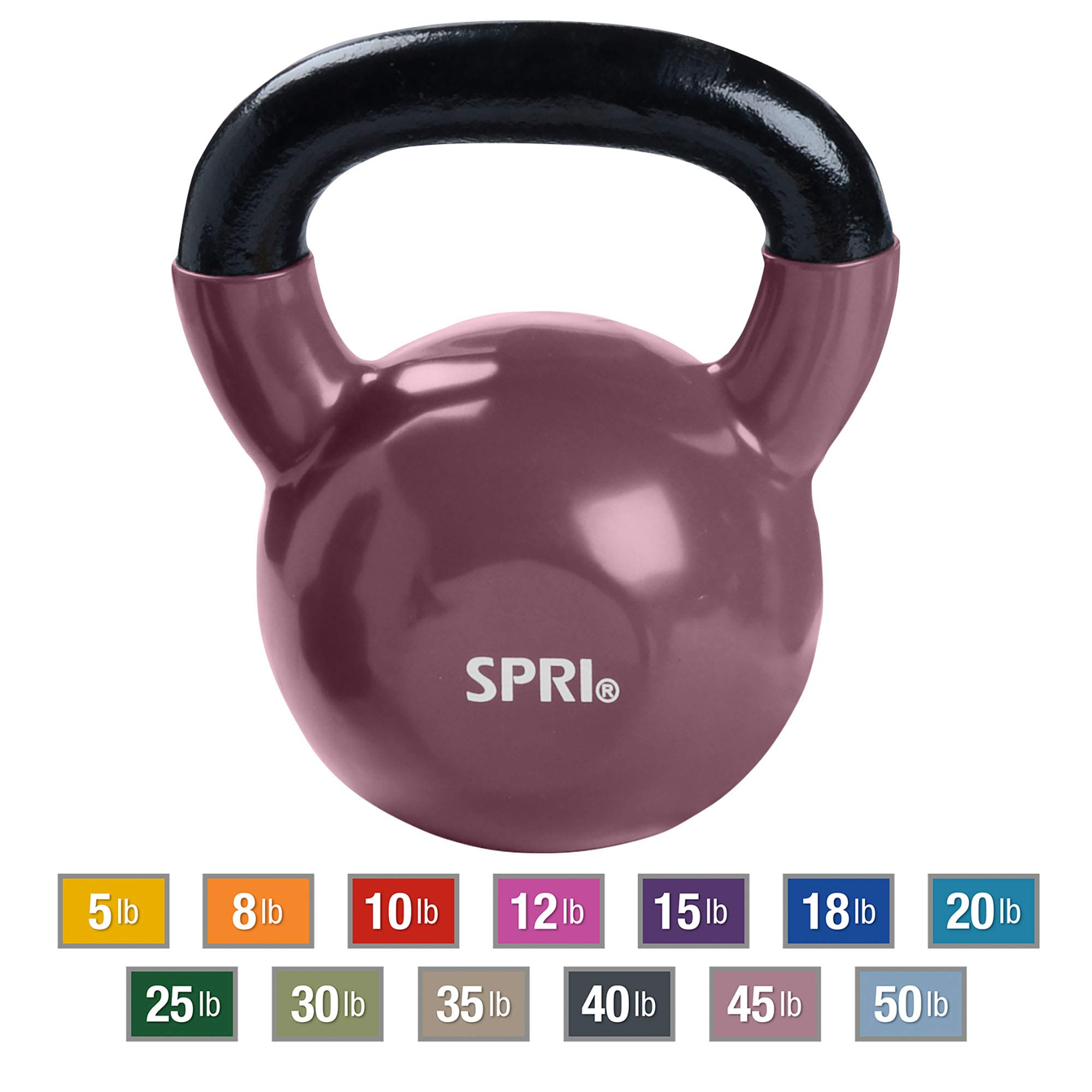 SPRI Kettlebell Weights Deluxe Cast Iron Vinyl Coated Comfort Grip Wide Handle Color Coded Kettlebell Weight Set (Grey/Purple, 45-Pound)