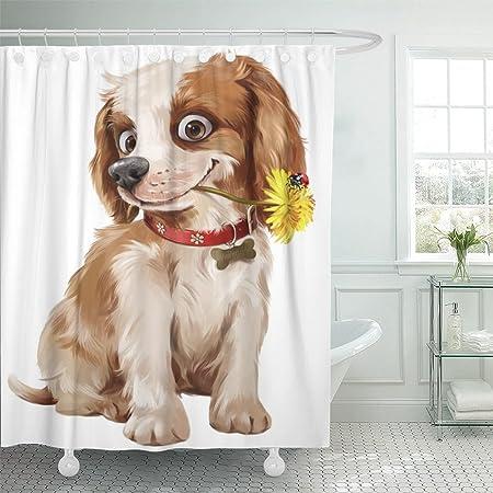 Emvency Cortina de Ducha 72 x 72 para Perro, Cachorro Feliz, con ...