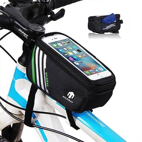 Bolsas para el manillar de la bicicleta, Alforja Bolsa Funda Móvil para Tubo Superior de Cuadro de Bicicleta, Bolso del tubo del frente del marco para ...