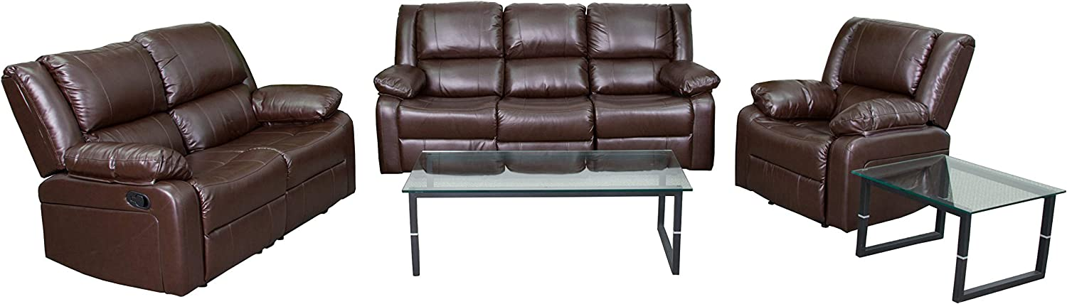 Flash Furniture Harmony Series Brown LeatherSoft Reclining Sofa Set