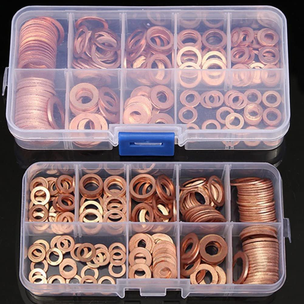 200pcs Solid Copper Washers Sump Assorted Washer Car Set Box New