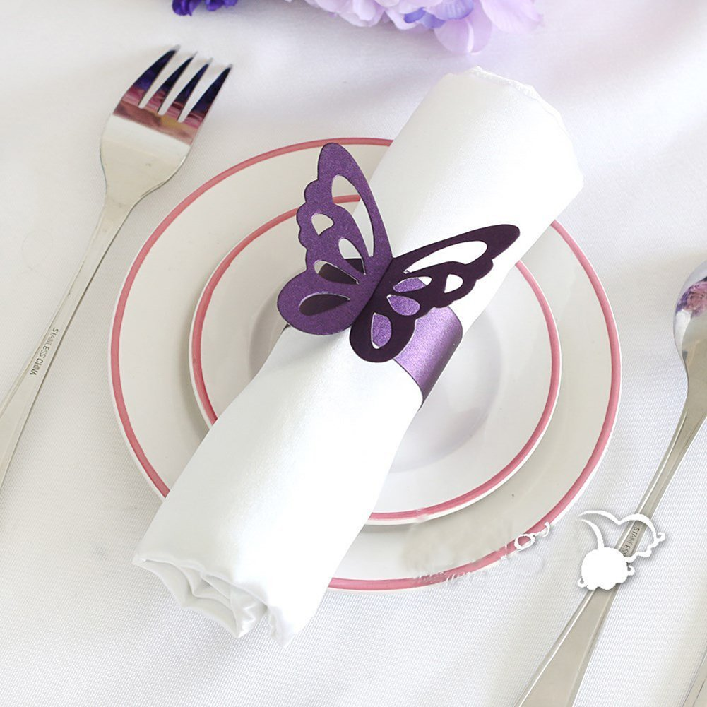 CheckMintOut 50Pcs Purple Butterfly Paper Napkin Rings Holders Wedding Table Decoration Bridal Shower Party Favours   B00YMRF6JW