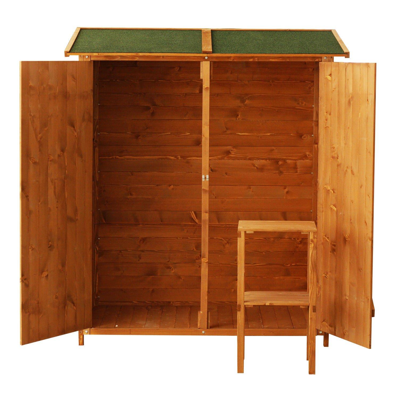 Outsunny - Caseta armario, portaherramientas para exteriores, de madera - Trastero para jardín - Armario exterior - 159 x 125 x 65 cm: Amazon.es: Jardín