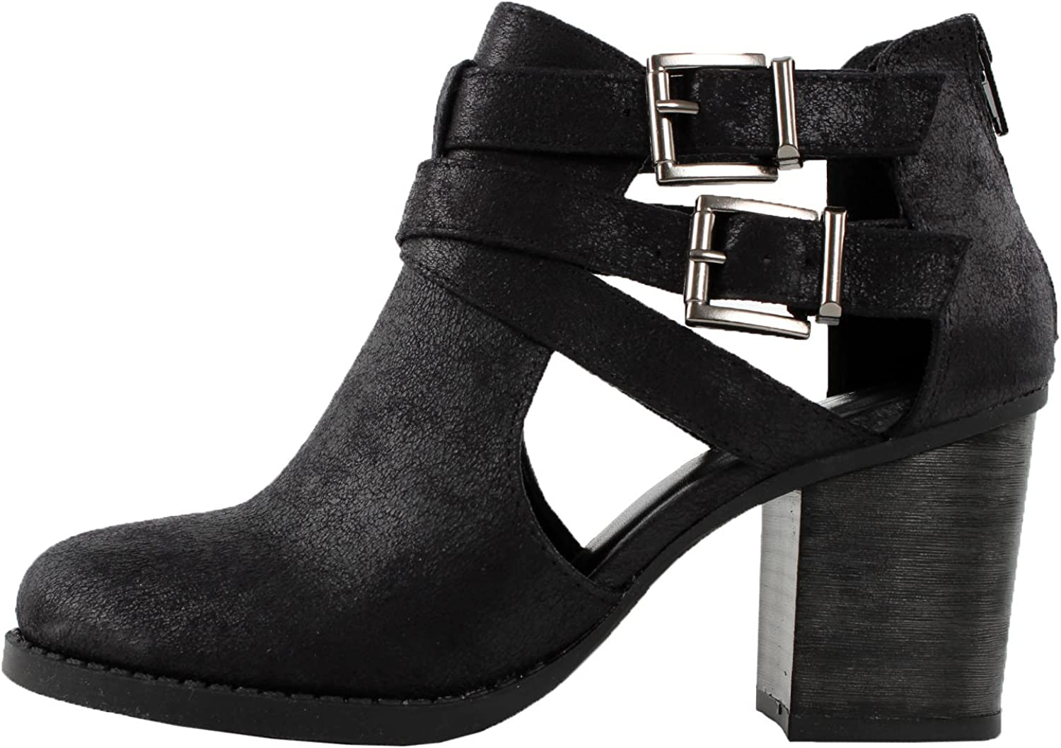 US,Black Pu M Soda Womens Scribe Ankle Bootie With Low Heel And Cut-Out Side Design,6 B