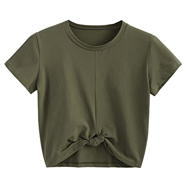 9e7ca7cf861 Processes Women Twist Tied T-Shirt Knotted Short Sleeve O-Neck Cute Cropped  Top Casual at Amazon Women's Clothing store: