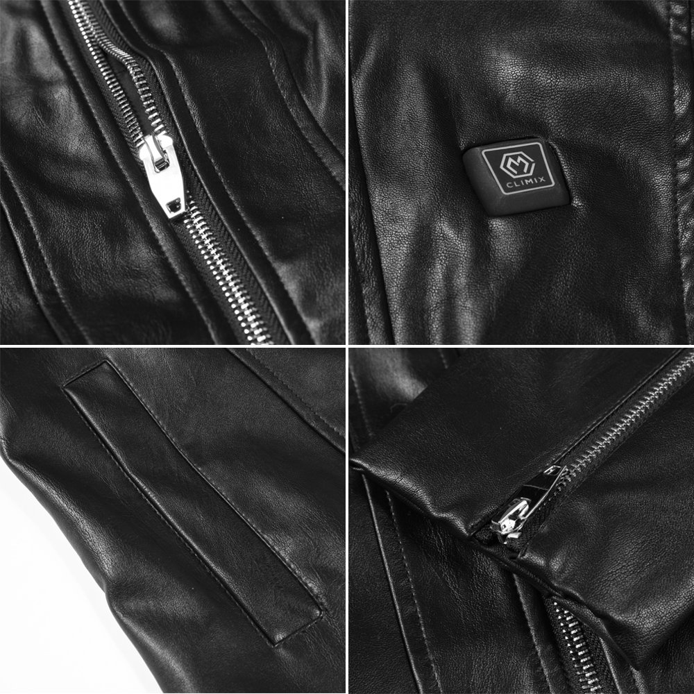 CLIMIX Slim Fit Women Heated Jacket PU Leather Jacket Kits with Battery (M) by CLIMIX (Image #6)