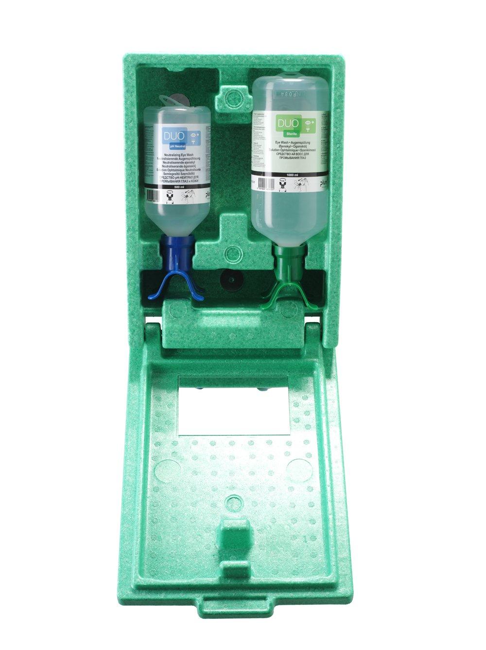 Plum 48108 Medium Duo Chemical Eyewash Station, 5' Height, 10.5' Wide, 14.5' Length, 33.8 fl.oz. Volume, 4.75 lb, Plastic 5 Height 10.5 Wide 14.5 Length
