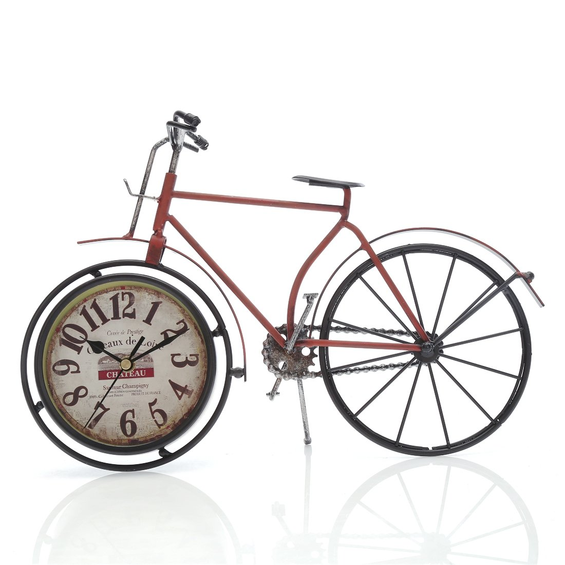 """Chaomian Home Ornaments 14.4""""x10"""" Handcrafted Metal Bicycle Analog Silent Quartz Desk Clock,vintage Rustic Look,Glass on Front (Red Bicycle)"""