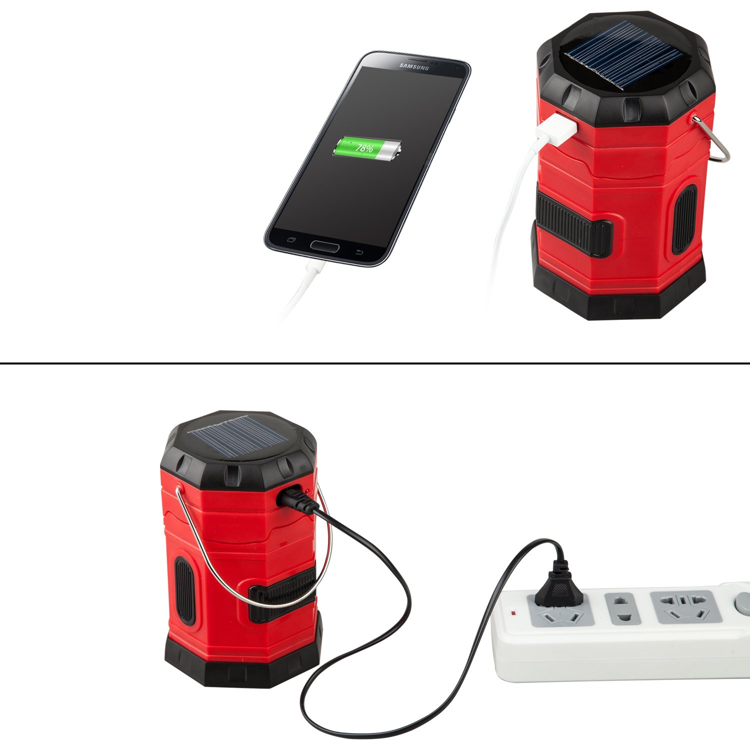 Amazon.com: TANSOREN Portable LED Camping Lantern Solar USB Rechargeable Or  3 AA Power Supply, Built In Power Bank For Android Charger, ...