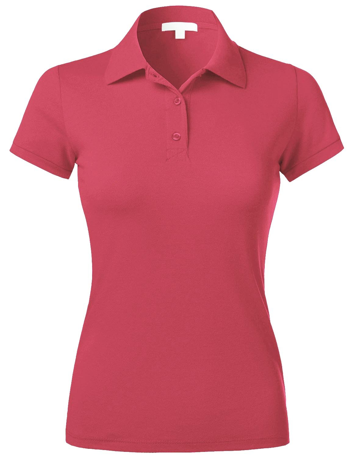 Hat and Beyond EC Womens Polo Shirts Casual Pique Solid Short Sleeve Slim Fit Top 3ECA0001 (3X-Large, 01_hotpink)