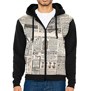 f524c6f66 Amazon.com  Mens Vintage French Newspaper Full Zip Pullover Hoodie Hooded  Sweatshirt Jacket Coat  Clothing