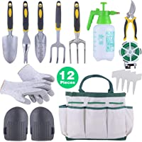 12-Piece Sonyabecca Garden Tools Set Gardening Gift Kit with Garden Tote 6 Hand Tools Anti-Cutting Gloves Sprayer Knee Pads Plant Labels Plant Rope