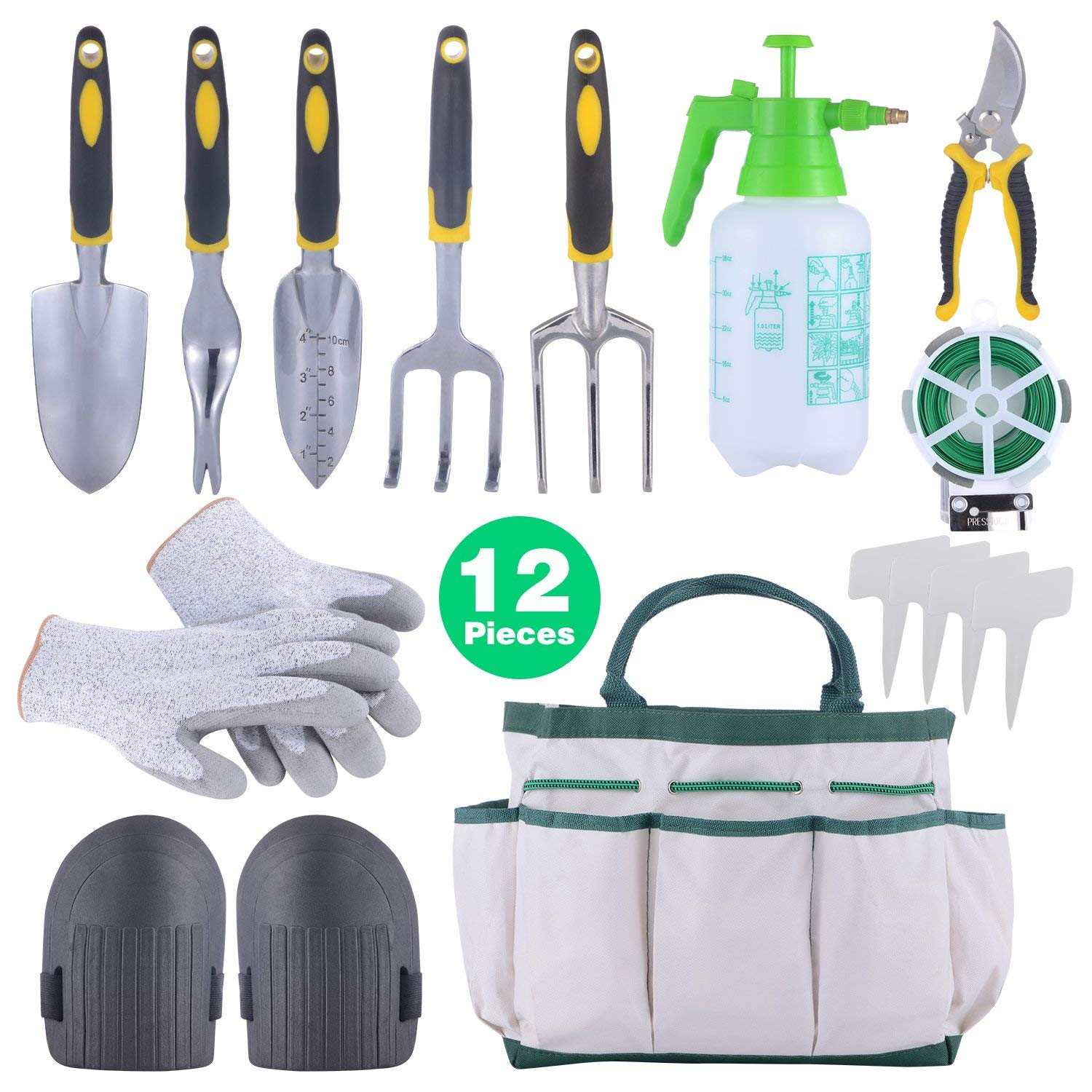 Sonyabecca 12pcs Garden Tools Set Gardening Gift Kit Ergonomic Gardening Tools with Garden Tote 6 Hand Tools Anti-Cutting Gloves Sprayer Knee Pads Plant Labels Plant Rope by Sonyabecca
